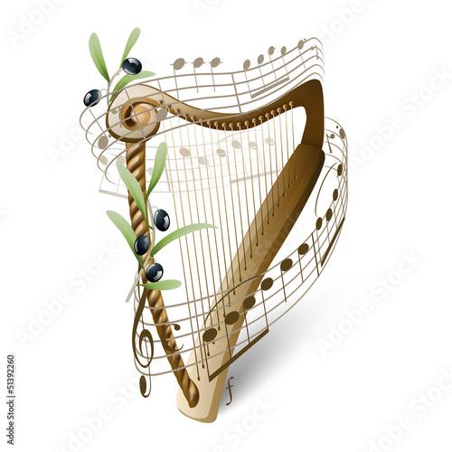 wooden harp and olives Fototapeta