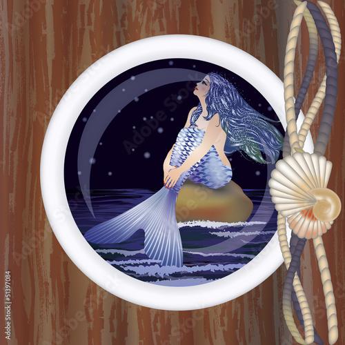Wall Murals Mermaid Beautiful night mermaid in porthole