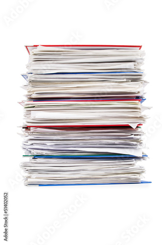 Fotografía Pile of papers isolated on white