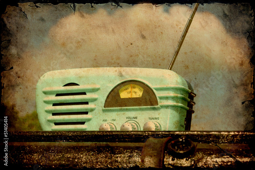 Photo sur Aluminium Affiche vintage Retroplakat - Altes Radio