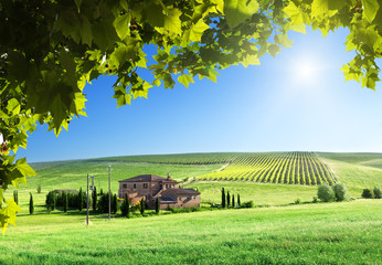Tuscany landscape with typical farm house