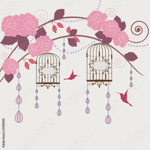 In de dag Vogels in kooien Garden in blossom