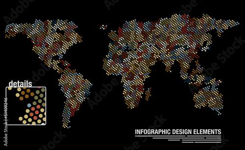 Foto op Aluminium Pixel World map from circles