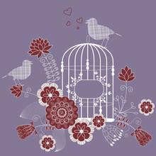 Loving Bird - Vector Floral Background