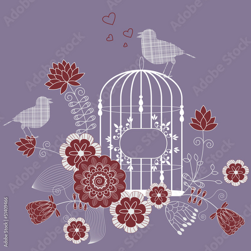 Poster Birds in cages Loving bird - vector floral background