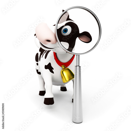 Wall Murals Ranch 3d rendered toon character - funny cow