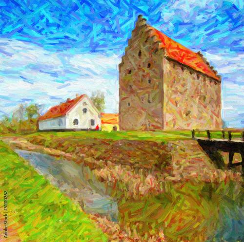 Obraz w ramie Glimmingehus Castle Painting