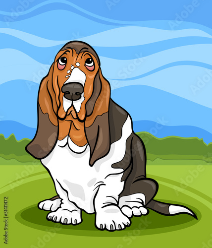 In de dag Honden basset hound dog cartoon illustration