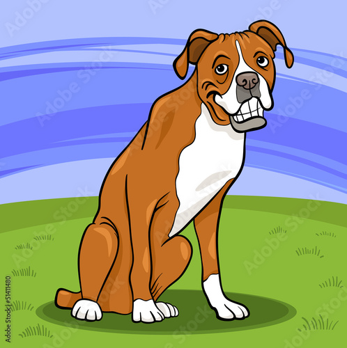 Printed kitchen splashbacks Dogs boxer purebred dog cartoon illustration