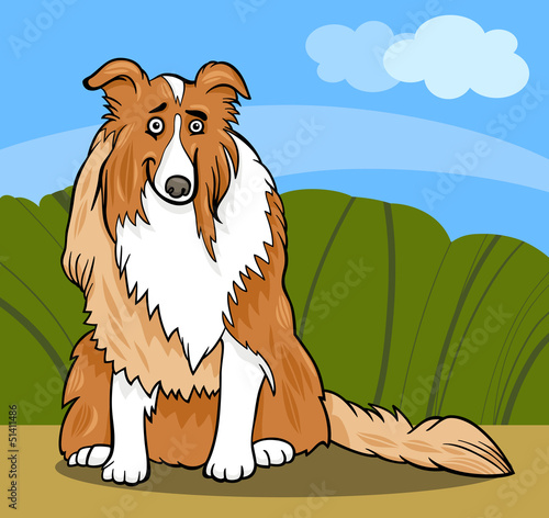 Garden Poster Dogs collie purebred dog cartoon illustration
