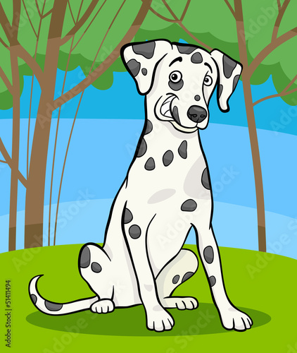 Stickers pour portes Chiens dalmatian purebred dog cartoon illustration