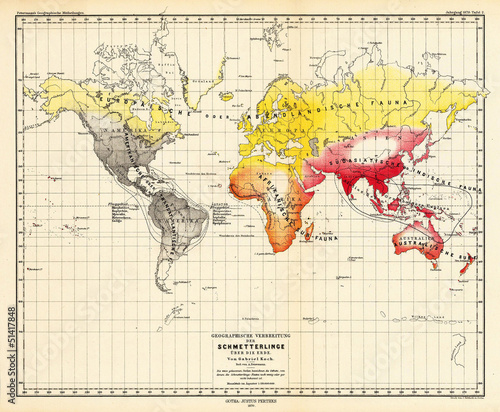Foto op Canvas Wereldkaart World vintage