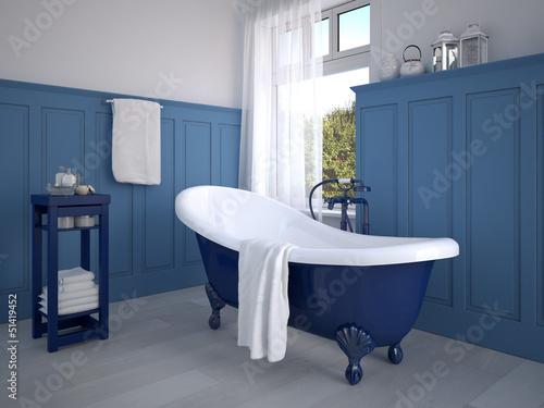 Fototapeta  klassisches badezimmer mit dekoration in blau