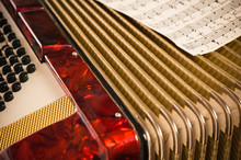 Red Accordion And Sheet Music,...