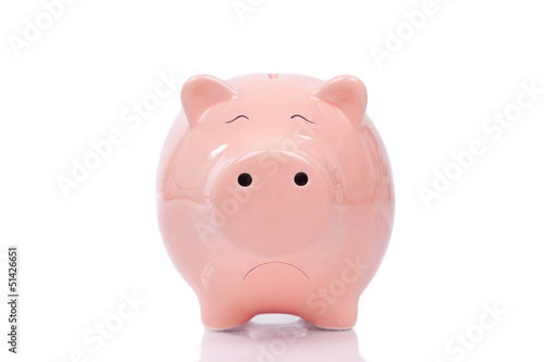 Sad piggy bank isolated on white background Poster