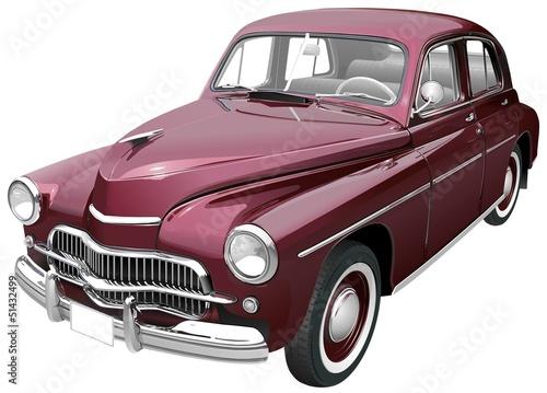 Deurstickers Oude auto s Oldtimer bordeaux