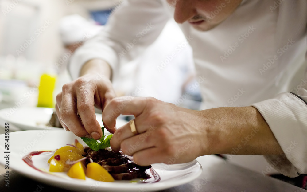 Fototapety, obrazy: Chef in restaurant kitchen cooking, only hands to be se