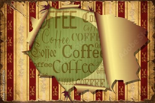 Papiers peints Affiche vintage 3D Aufgerissene Tapete - Coffee