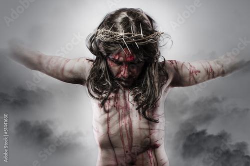 representation of jesus christ on the cross on Cloud Background Fototapete