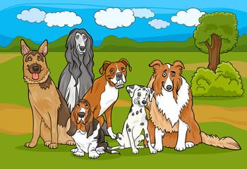 slatki rasni psi grupa ilustracija crtića