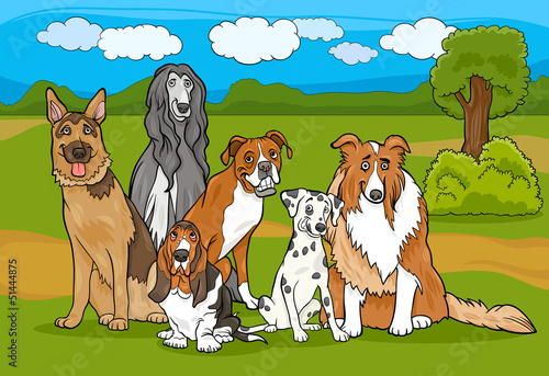Garden Poster Dogs cute purebred dogs group cartoon illustration