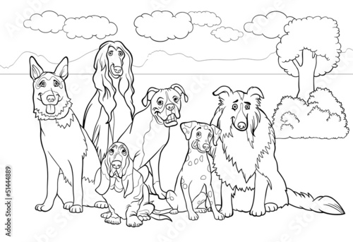 Spoed Foto op Canvas Doe het zelf purebred dogs cartoon for coloring book