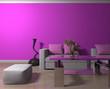 canvas print picture - Wohndesign - Sofa weiß vor lilaner Tapete