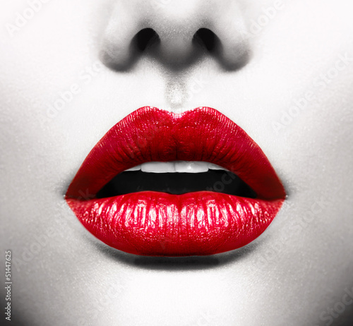 Garden Poster Fashion Lips Sexy Lips. Conceptual Image with Vivid Red Open Mouth