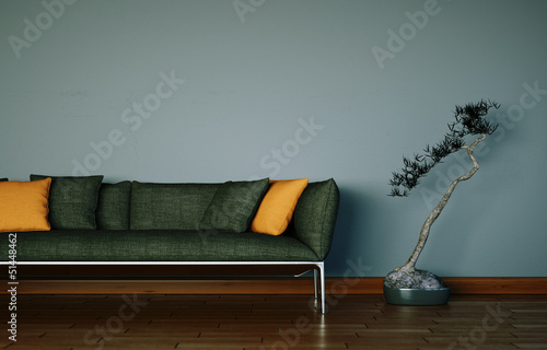 Braunes Sofa Vor Grauer Wand Buy This Stock Illustration And