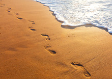 Beach, Wave And Footsteps At S...