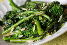 Stir Fried Rapinis And Asparagus