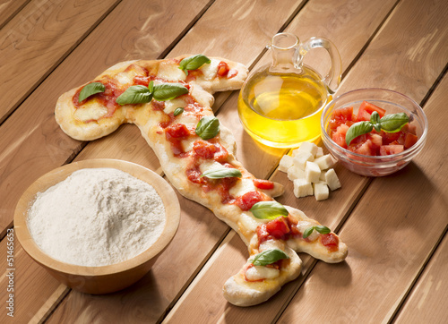 Pizza in the shape of Italy