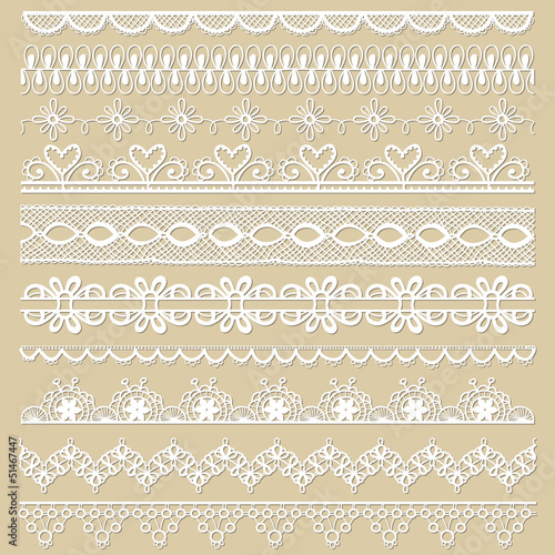 Fotografie, Tablou Set of lace ribbons - for design and scrapbook - in vector