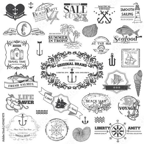 Fotografia  Nautical Sea Calligraphic Elements - for scrapbook and design