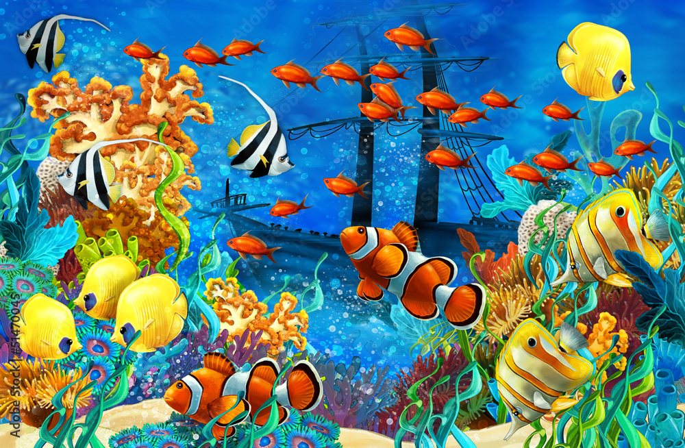 Fototapeta The coral reef - illustration for the children