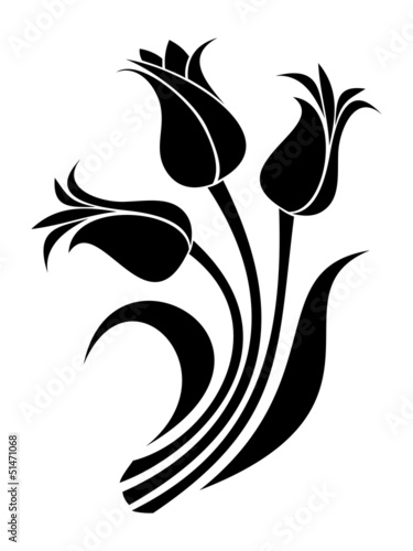 czarne-sylwetki-tulipanow-ilustracji-wektorowych