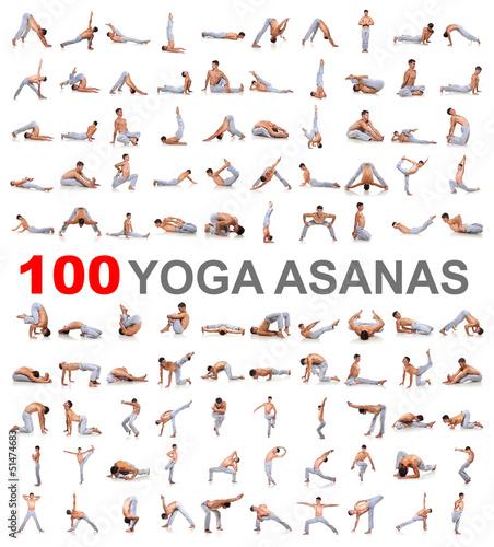 100 yoga poses on white background