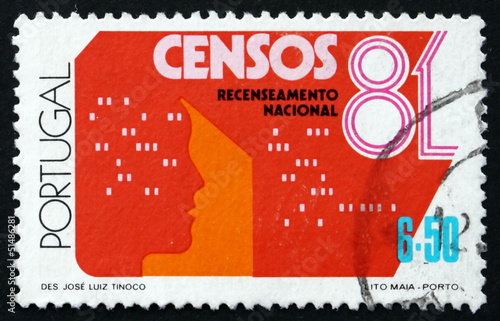 Photo  Postage stamp Portugal 1981 Census Form and Head