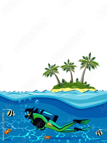 Recess Fitting Submarine Diver swimming underwater near the island