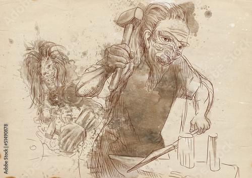 Cuadros en Lienzo Hephaestus. Greek myths and legends - full sized hand drawing