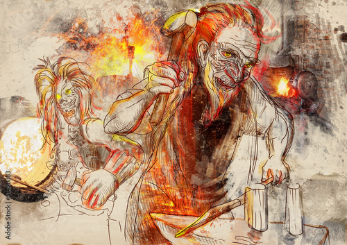 Photo Hephaestus. Greek myths and legends - full sized hand drawing