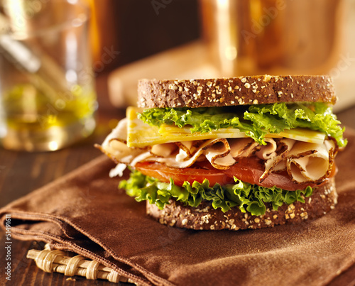 Staande foto Snack deli meat sandwich with turkey
