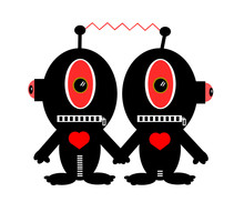 Alien Couple Holding Hands