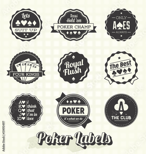 Vector Set: Retro Poker Labels and Icons плакат