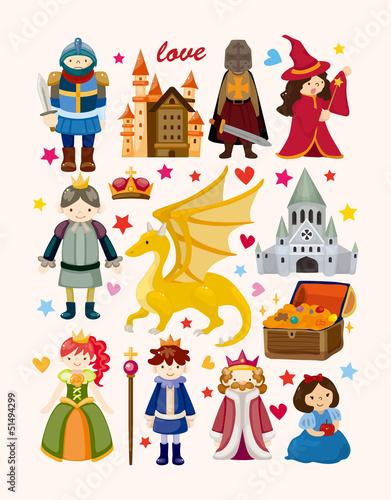 Fotografie, Obraz  set of fairy tale element icons