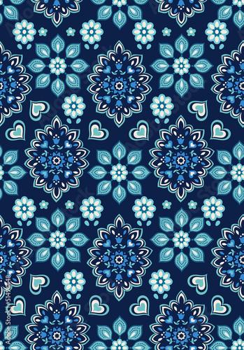 Fotografia, Obraz  navy floral bandana vector ~ seamless background
