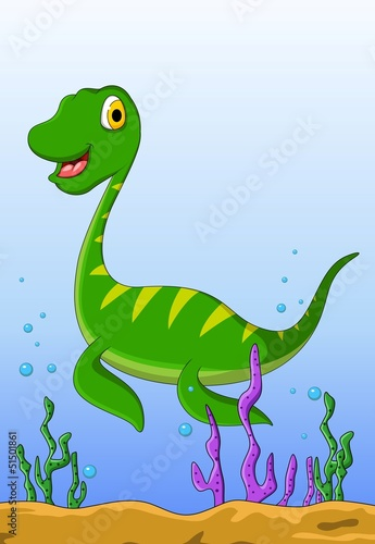 Keuken foto achterwand Dinosaurs dinosaur cartoon on the water