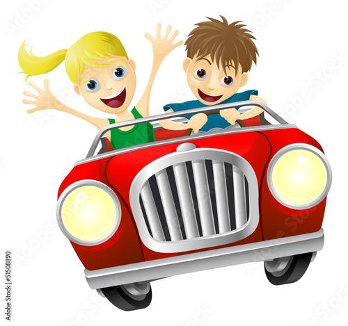 Staande foto Cartoon cars Cartoon man and woman in car