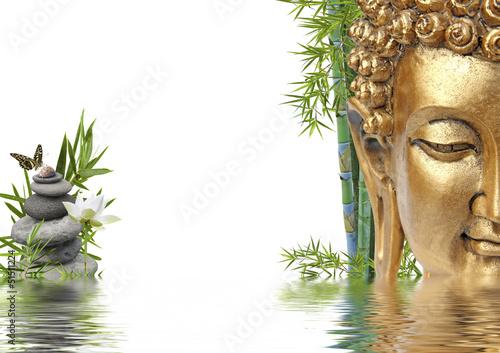 tête de Bouddha au bord de l'eau Canvas-taulu