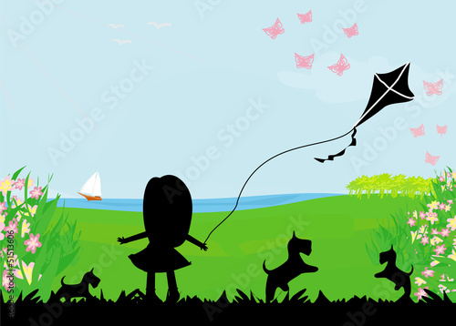 Poster Oiseaux, Abeilles girl with flying kite.